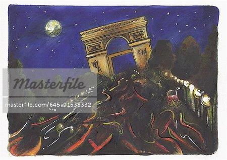 Scène de nuit éclairée Arc de triomphe à la fin des Champs - Elysees