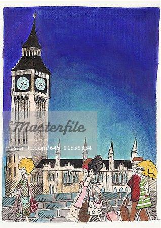 Shoppers femmes marchant dans la rue avec Big Ben de Londres en arrière-plan