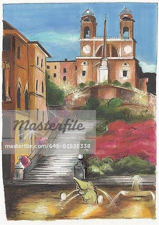 Place d'Espagne de Rome éclairée la nuit avec l'église Trinita dei Monti en haut