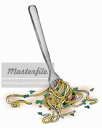Fourche avec pâtes