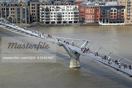 Millennium Bridge Over the River Thames, London, England