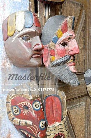 Guatemala, Antigua, masques multicolores