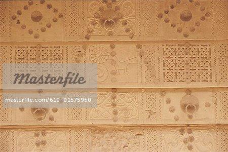 Yémen, Wadi Do'an, porte sculptée