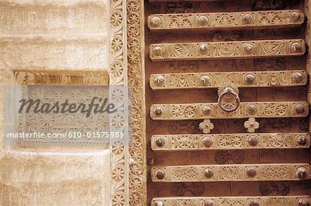 Yemen, Shibam, carved door