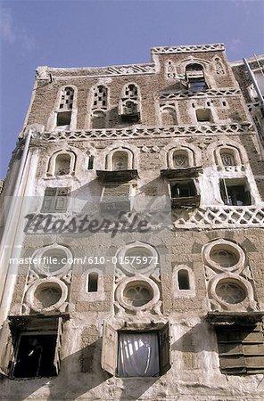 Yemen, Sanaa, decorated facade