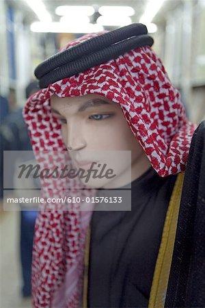 Jordanie, Amman, les souks, les keffiehs à vendre
