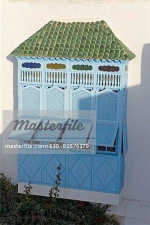 Fenêtre de mashrabiya traditionnelles de Tunisie, Sidi Bou Said,
