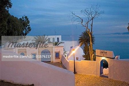 Tunisia, Sidi Bou Said, cafe at dusk