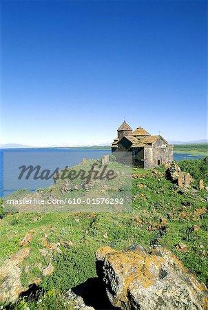 Armenia, Lake Sevan, church and khachkars (carved stone)