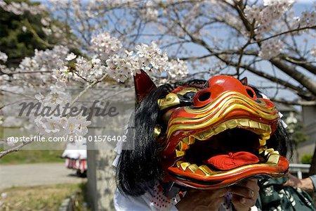 Japan, island of Kyushu, Beppu, Onsen festival, dragon mask