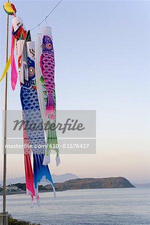 Le Japon, l'île de Kyushu, Ibusuki, festival des garçons, la carpe streamers