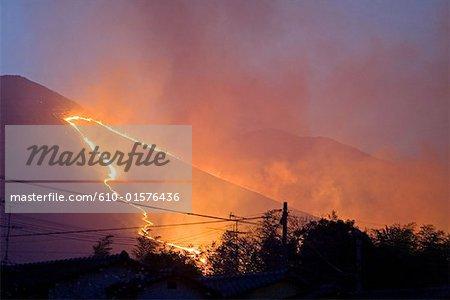 Japan, island of Kyushu, Beppu, grass burning festival of Mount Ohgiyama