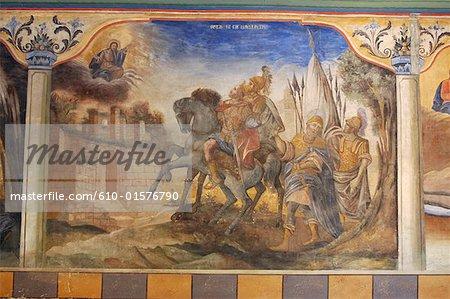 Bulgaria, Plovdiv, old city, fresco