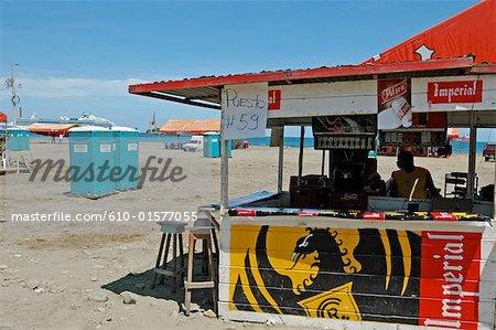 Costa Rica, Puerto Limon, during carnival, beach bar