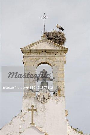 Portugal, Algarve, Faro, beffroi et cigognes nichent