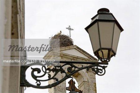 Portugal, Algarve, Faro, éclairage public et cigognes nichent