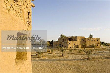 Egypt, Libyan desert, Siwa Oasis, traditional architecture hotel