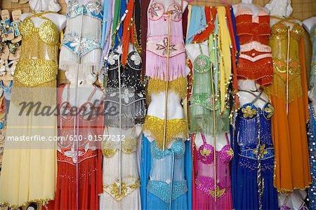 Egypt, Old Cairo, Khan El Khalili souk, belly dance dresses