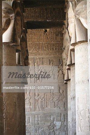Egypt, Dendera, Dendera Temple, sculpted wall