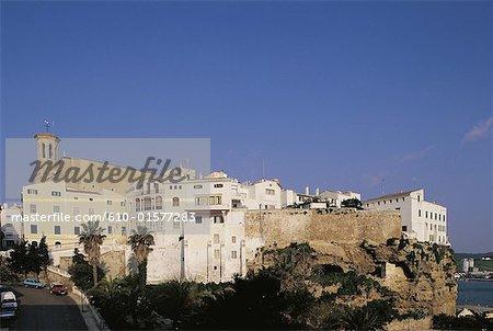 Espagne, Iles Baléares, Menorca, Mahon, ville et l'église de St Mary