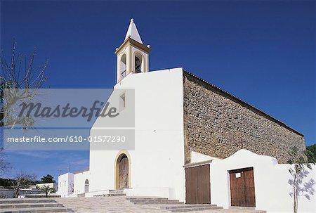 Espagne, îles Baléares, Ibiza, église de San Juan Bautista