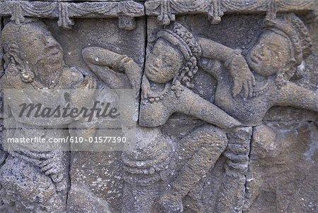Détail d'architecture Java, Temple de Borobudur, Indonésie