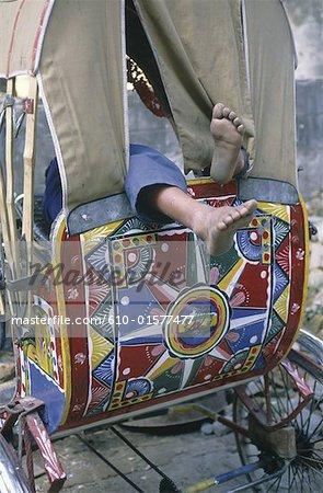 Nepal, Kathmandu, nap in a rickshaw