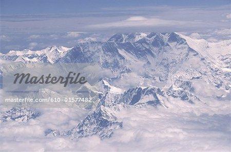 Vue aérienne de Népal, Everest,