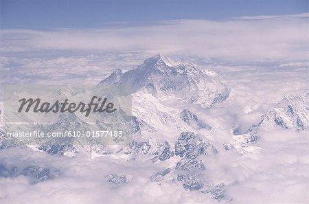 Vue aérienne du Tibet, Everest,