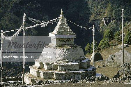 Nepal, Solu Khumbu, Namche Bazar, stupa