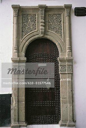 Morocco, Tangier, medina, traditional door