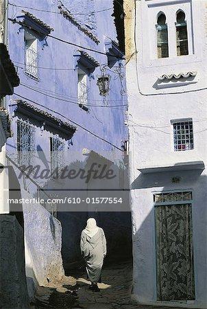 Maroc, Chefchaouen, blanchies à la chaux habitations