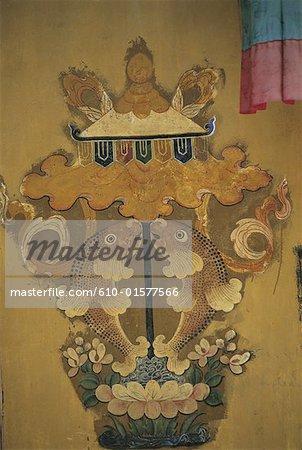 Chine, Tibet, monastère de Tandruk, peinture murale représentant le « poisson d'or », symbole bouddhiste