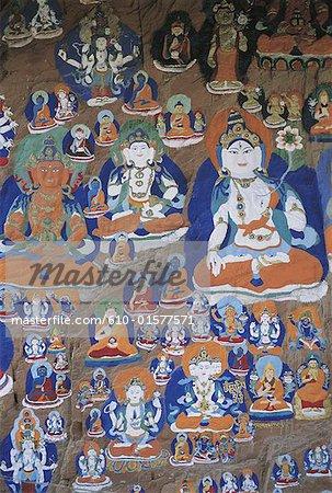 Chine, Tibet, Lhassa, Chagpo Ri, peint et sculpté les rochers