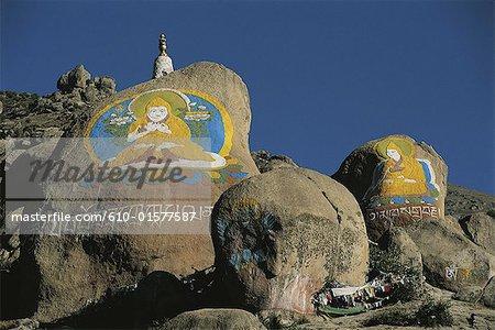 Tibet, near Lhasa, Drepung Monastery, painted rocks