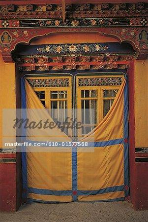 Tibet, decorated door