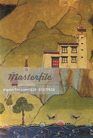 Tibet, Yarlung Valley, Yumbulagang Palace, chapel, wall painting depicting Nyatri Tsenpo
