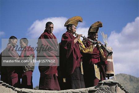 Tibet, monks during ceremony