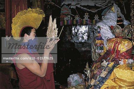 Tibet, Lhasa, Meru Nyingba Monastery, torma offering (ritual cakes)