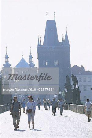 Czech Republic, Prague, Charles Bridge and Old Town Bridge Tower