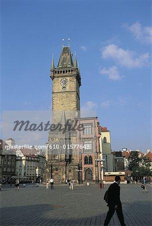République tchèque, Prague, Staromestske Namesti Square, hôtel de ville