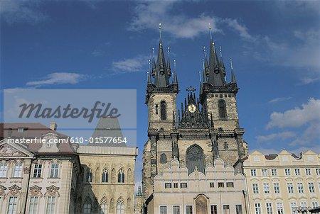 République tchèque, Prague, Staromestske Namesti carré, église Notre-Dame avant Tyn