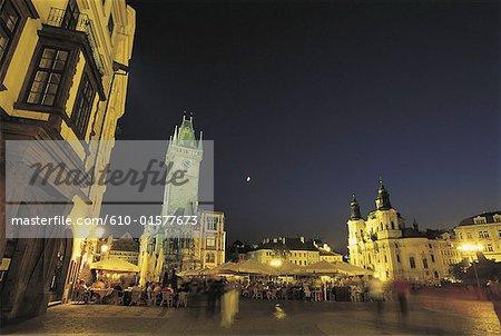 République tchèque, Prague, Staromestske Namesti Square, hôtel de ville pendant la nuit