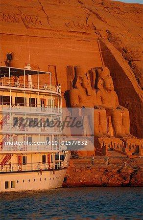 Egypt, Abu Simbel, temple of Ramesses II from Lake Nasser