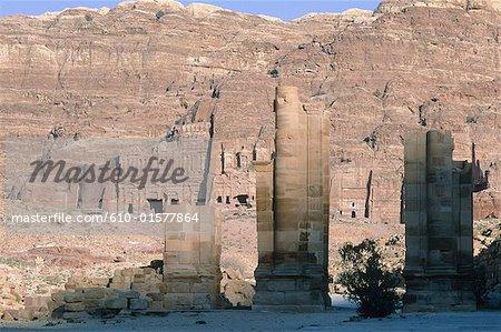 Jordan, Petra, Nabataean tombs, ruins