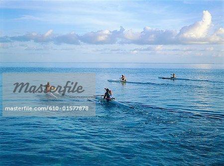 Français de Polynésie, Bora Bora, îles de la société, îles sous-le-vent de formation pour une course de pirogues