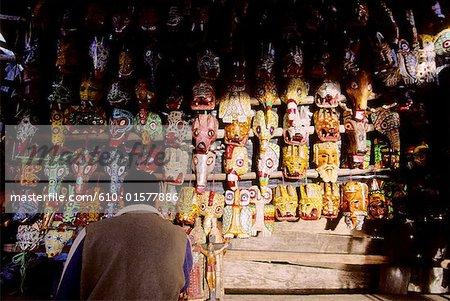 Guatemala, Chichicastenango, masks for sale at the market