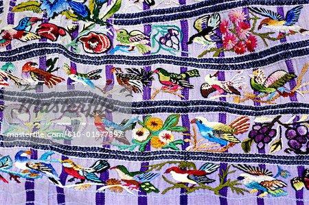 "Guatemala, Santiago Atitlan, market, detail of a traditional shirt called ""huipil"""