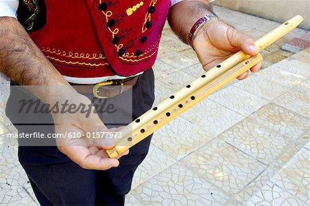 Chypre, Nicosie, Chypre craft centre, joueur de flûte traditionnelle