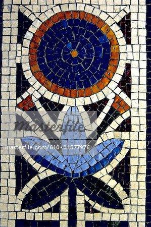 Centre d'artisanat chypriote Nicosie, Chypre, gros plan d'une mosaïque